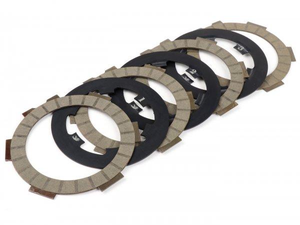 Kit dischi guarniti frizione incl. dischi in acciaio -FABBRI RACING Street- Vespa Smallframe V50, V90, SS50, SS90, PV125, ET3, PK50, PK80, PK50 S, PK80 S, PK125 S, PK50 XL, PK125 XL, ETS, PK50 HP, PK50 SS - 4 dischi guarniti