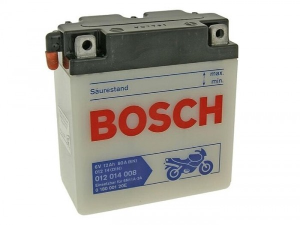 Battery -Standard BOSCH 6N11A-3A- 6V 12Ah -122x62x132mm (with acid) - Vespa 150 (T2, T3), Vespa GS150 / GS3 (VDTS - German models), V50 Special Elestart (required 2pcs)