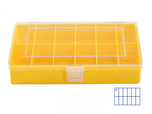 Sortierkasten -HÜNERSDORFF, Compact (170x250x46mm)- 12 Fächer, gelb, Polystyol