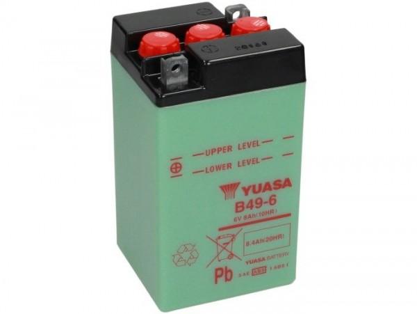 Batterie -Standard YUASA B49-6- 6V, 8Ah - 91x83x161mm (ohne Säure)