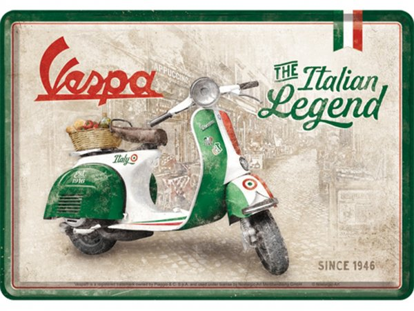 """Blechpostkarte -Nostalgic Art- Vespa, """"Italian Legend"""", 10x14cm"""