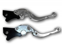 Pair of brake levers -BGM PRO Sport, adjustable, foldable- Vespa GT, GTL, GTS 125-300 - silver