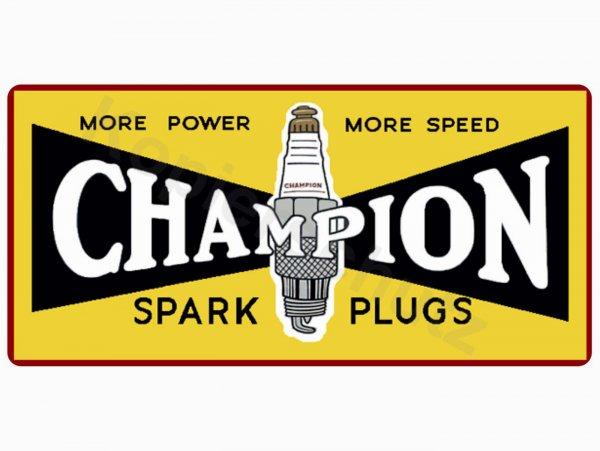 "Aufkleber -110 x 53mm- ""Champion Spark Plugs"""