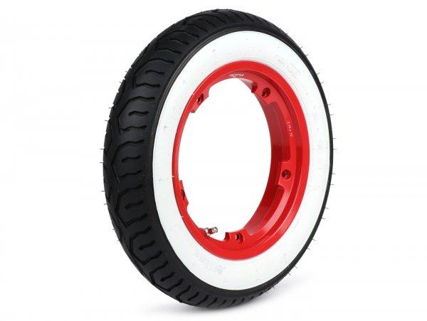 Wheel -MITAS MC12 white wall, tubeless, Vespa Smallframe V50, PV, ET3, PK- 3.00 - 10 inch TL 42J - wheel rim BGM PRO 2.10-10 Aluminium red
