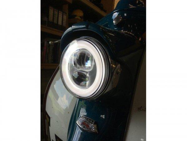 Scheinwerfer inkl. Montagerahmen-Set -MOTO NOSTRA- LED HighPower - Ø=120mm - 12V DC - E9-Kennzeichnung - zur Umrüstung von Lambretta LI (Serie 1-2)