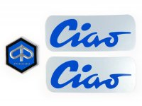 cornice del set di caratteri -CIAO alluminio, nero/blu- Piaggio Ciao