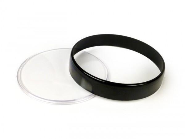 Tachoglas-Set -BGM ORIGINAL- Vespa Ø=105mm - Vespa PX Lusso (1984-), PK XL1, GT 250 i.e. 60 (ZAPM451), GTV 125 (ZAPM313), GTV 250 (ZAPM451), GTV 300 (ZAPM452) - schwarzer Ring - klares Glas