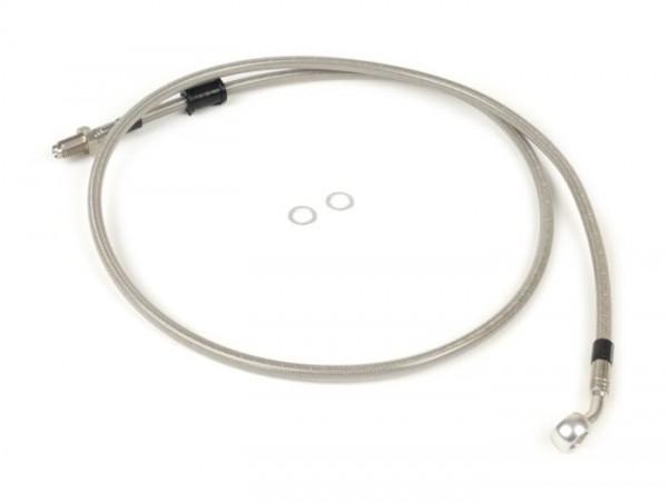 Bremsleitung vorne zur original Bremszange -SPIEGLER Leitung: Edelstahl (transparent), Fitting: Aluminium (Silbern)- Vespa (mit ABS) GTS 125i.e. Super ABS (ZAPM45300, ZAPM45301), Vespa GTS 300 ABS (ZAPM45200, ZAPM45202), Vespa GTS 300i.e. Super