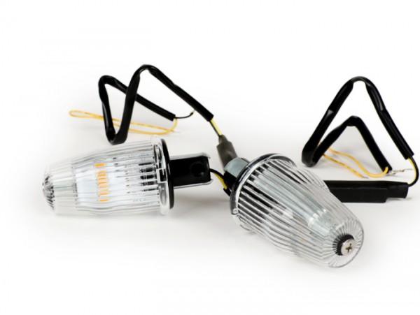 Blinker-Set -MOTO NOSTRA Lenkerblinker LED (E-Prüfzeichen), 6 Volt- Vespa V50, 50SR, 50 Sprinter, 90SS, 90 Racer, PV125, ET3, Sprint150, Rally180/200 - weiß
