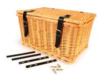 Basket - wicker basket with lid incl. Mounting set -OEM QUALITY 47x31x25cm- bicycle, scooter, vespa, moped e.g. PIAGGIO Ciao, SI, Bravo - Color: Nature