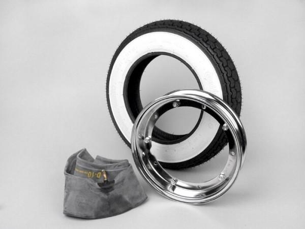 Reifen komplett Set -VESPA CONTINENTAL Weisswand K62- 3.50 - 10 Zoll TT 59J (reinforced) - Felge 2.10-10 Chrom