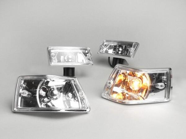 Indicator set -BGM ORIGINAL set of 4- Vespa PX80, PX125, PX150, PX200, T5 125cc, chrome casing - smooth lens / silver light bulb