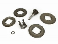 Gearbox -PIAGGIO (NOS)- Vespa V50, V90, 50N, PV125, ET3, SS50, SS90, PK S, PK XL1, PK XL2, ETS - (46, 50, 54, 58 teeth) - gear set incl. gear cluster and gear selector