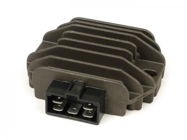 Regulador de tensión -OEM QUALITÄT- 5-clavijas 12V con relé de intermitente- Vespa ET4 (ZAPM19), LX125-150, LXV125-150, S125-150, Primavera125-150, Sprint125-150, GT125-300, GTS125-300, GTV125-300, GTL125-200, Piaggio 50 ccm Purejet 2 tiempos (motor