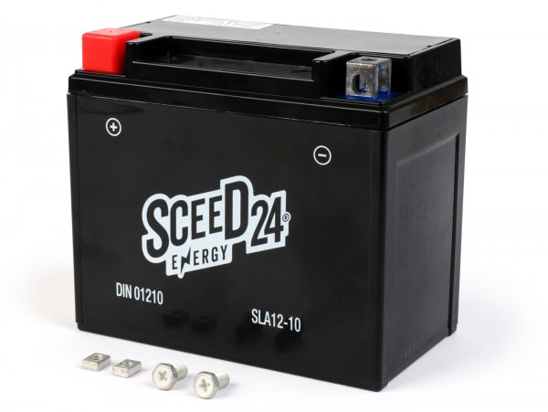 Battery -maintenance-free -SCEED24 SLA12-10 / YTX12-BS GEL - 152x88x130mm - Vespa GTS300 Super/Super Sport/Touring (ZAPM45200), GTS300 Touring/ 70Jahre (ZAPM45202), GTS300 Yacht Club/Notte/Touring (ZAPMA3300), GTS300 HPE/Supertech/Racing Sixites/ (ZA