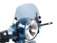 Windschutzscheibe mit schwarzen Haltern -MOTO NOSTRA, b=340mm, h=105mm- Vespa PX80, PX125, PX150, PX200, LML 125/150 Star/Stella - grau getönt