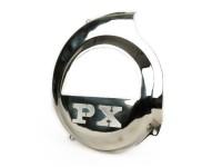 Cache turbine -SPAQ- Vespa PX80, PX125, PX150, PX200 - insigne PX découpé à laser - modèles qui ne sont équipés que d'un pédale de kick