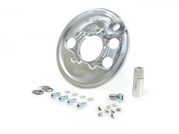 Rear hub dust cover CNC aluminium 10 inch incl. cluster gear support -CMD Mighty Kong- Vespa PX, T5 (VNX5T), GT125 (VNL2T), GTR125 (VNL2T), TS125 (VNL3T), Sprint150 (VLB1T), Rally180 (VSD1T), Rally200 (VSE1T)