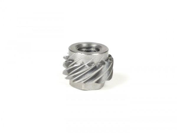 Tachoschnecke auf Welle -BGM ORIGINAL- Vespa 10 Zähne, Ø=21,8mm, Metall (passend für Tachoschnecke 9 Zähne) - (verwendet in Vespa V50, 50N, 50L, 50R (V5A1T, 9 Zoll Reifen))