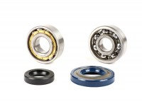 Bearing and oil seal set for crankshaft -PIAGGIO- Vespa V50, PV125, ET3, PK50S, PK80S, PK125S - 1x 6303 + 1x N204