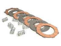 Clutch friction plate set -VESPA type 7 springs- 4 friction plates (incl. springs and steel plates)