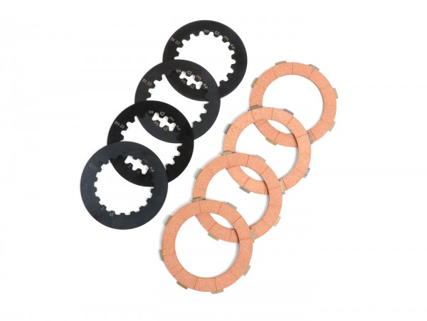 Clutch friction plate set incl. steel plates -BGM ORIGINAL Vespa Cosa2- suitable for standard clutch basket of Vespa Cosa2/FL (1992-), PX (1995-), Superstrong, Scooter & Service, MMW, Ultrastrong - 4 plates