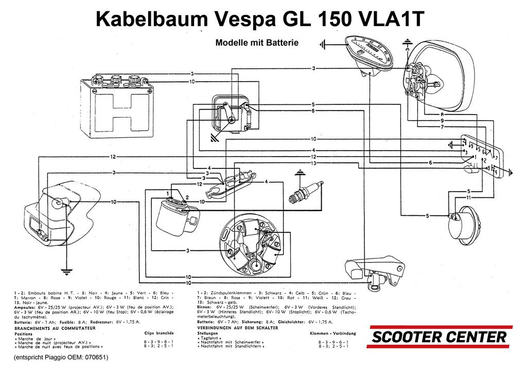Kabelbaum -VESPA- Vespa 150 GL (VLA1T) - Fahrzeuge mit Batterie ...