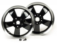 Pair of wheel rims -PIAGGIO 2017 Super - black with polished border, 3.00-12 inch - 5 spokes- Vespa GT, GTL, GTS, GTV 125-300cc - models - black