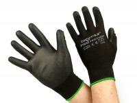 Work gloves - mechanics gloves - protective gloves -BGM PRO-tection- seamless knitted gloves, 100% nylon with polyurethan coating - size