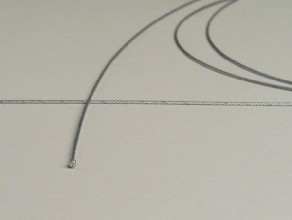 Zug universal innen -Ø=1,2mm x 2500mm, Nippel Ø=3,0mm x 3mm- verwendet als Gaszug - geflochten