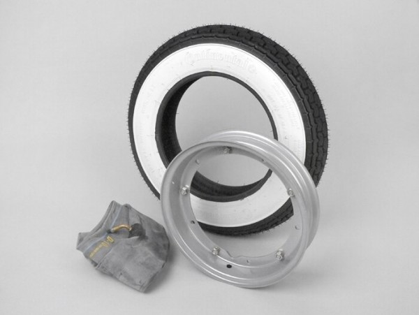 Wheel -VESPA CONTINENTAL white wall K62- 3.50 - 10 inch TT 59J (reinforced) - wheel rim 2.10-10 grey