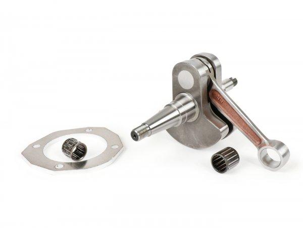 Kurbelwelle -MAZZUCCHELLI Glockenwelle (für Membraneinlass) - 60mm Hub, Pleuel 110mm, Ø16mm, inkl Conversionlager für Ø15mm Kolbenbolzen und 5mm Spacer für Zylinderfuß - Vespa PX125-150