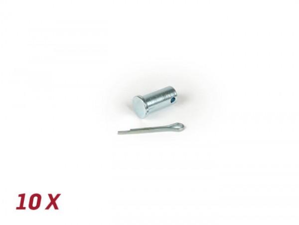 Juego pernos Ø=5.4x11mm pletina sujeción cable de freno trasero y pasadores -BGM ORIGINAL- Vespa V50, 50N, PV125, ET3, PK S, PK XL1, PK XL2, ETS, VNA, VNB, VBA, VBB, Super, GL, GT, GTR, TS, Sprint, GS, SS, Rally, PX - 10 unidades