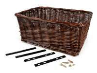 Basket - wicker basket incl. Retaining set -OEM QUALITY 43x33x19cm- bicycle, scooter, vespa, moped e.g. PIAGGIO Ciao, SI, Bravo - Color: Brown