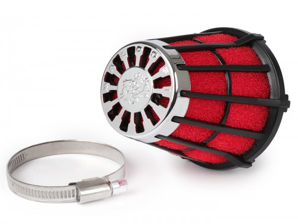 Luftfilter -MALOSSI E5- 30°, Anschlussweite = 55mm - Rot-Schwarz, Mikuni