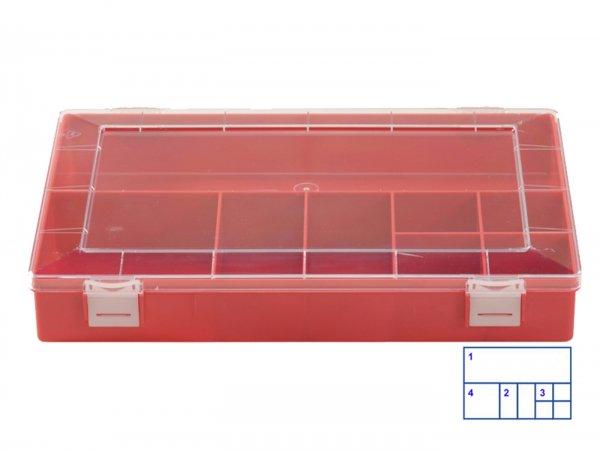 Sortierkasten -HÜNERSDORFF, Classic (225x335x55mm)- 8 Fächer, rot, Polystyol