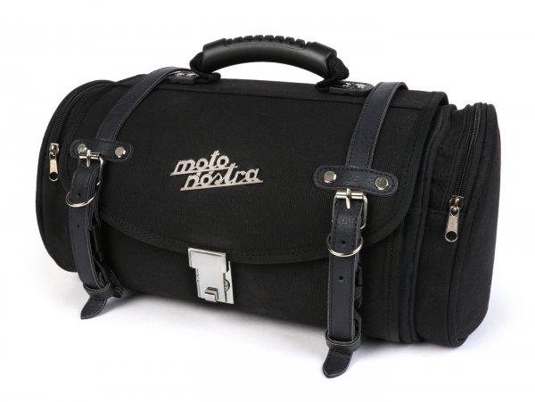 Roll bag (small) for carrier (alternative to topcase) -MOTO NOSTRA Classic 'waxed canvas' 330x190x180mm- suitable for e.g. Vespa, Lambretta, GTS 125-300, GTV, LX/LXV, ET4, S50-150, Sprint, Primavera - 10 litres - black