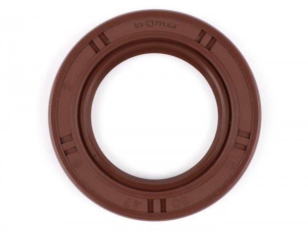 Retén 30x47x6mm -BGM PRO FKM/Viton® (resistente a E10)- (utilizado para rueda trasera Vespa PX (años 1984-1991), Piaggio 50-180 ccm 2 tiempos, Piaggio 50-100 ccm 4 tiempos)