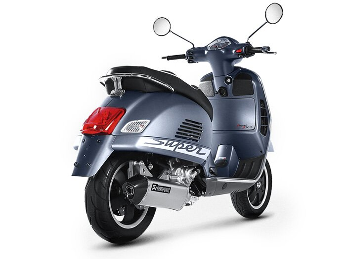 exhaust akrapovic slip on stainless steel vespa gts 125. Black Bedroom Furniture Sets. Home Design Ideas