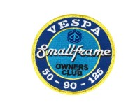 Patch thermocollant -VESPA Smallframe owners club 50 - 90 - 125- bleu/blanc/jaune - Ø=79mm
