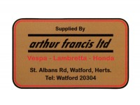 Adesivo -LAMBRETTA supplied by Arthur Francis 90x55mm-