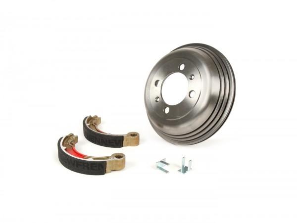 """Brake drum, rear 8"""" incl. brake shoes, 2 anchor pins -BGM PRO cast iron- Vespa VNB4T-VNB6T, VBB2T"""