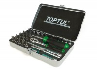 "Ratchet set -TOPTUL 1/4""- 4mm-14mm + Bits - 31 pcs"