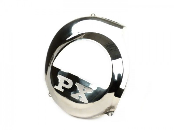 Flywheel cover -SPAQ- Vespa PX80, PX125, PX150, PX200 - lasercut -PX- stainless steel - models with electric starter