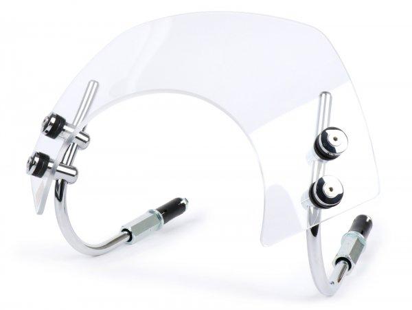 Windschutzscheibe mit verchromten Haltern -MOTO NOSTRA, b=340mm, h=105mm- Vespa GTS 125-300 HPE (2019-) ccm - transparentes Glas
