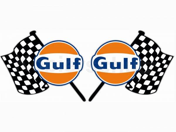 """Aufkleber -2x 70 x 60mm- """"Gulf Flaggen"""""""
