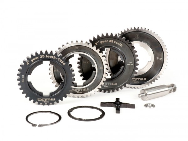 Getriebe (nur Gangräder) -BGM PRO- Vespa PX alt (-1984) - PX125 (VNX1T 146314 -> VNX2T 232052), PX150 (VLX1T 264565-624601), PX200 (VSX1T -> 315266), Rally180 (VSD1T), Rally200 (VSE1T) - 12/57, 13/42, 17/38, 21/35 Zähne - originale Abstufung