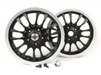 Pair of wheel rims incl. conversion kit -PIAGGIO 3.00-12 inch - 14 spokes- type Vespa Sprint 50-150cc - fits Vespa GT, GTL, GTS 125-300, GTV - matt black/silver rim
