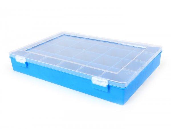 Scatola di vite -HÜNERSDORFF- 225x335x55 mm, blu, 24 compartimenti