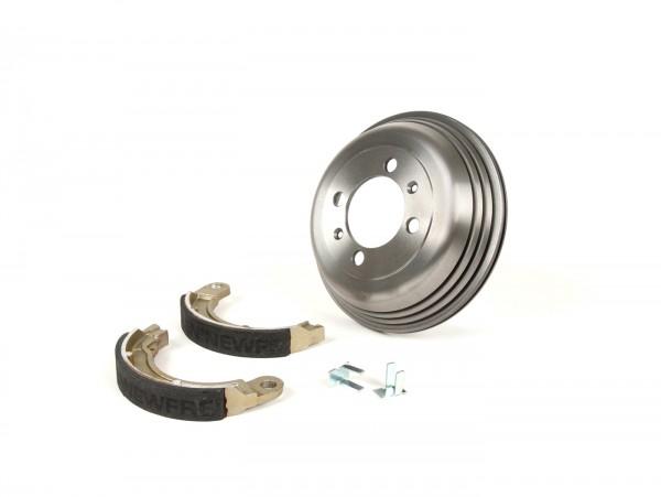 "Brake drum, rear 8"" incl. brake shoes, 1 anchor pin -BGM PRO cast iron- Vespa Wideframe V1-15, V30-33, VU, VM, VN, VL, VB, VBA1T, VBB1T, VNB2T, VNB3T, VNA, ACMA, Hoffmann"